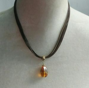 Lia Sophia Faux Amber Pendant Necklace